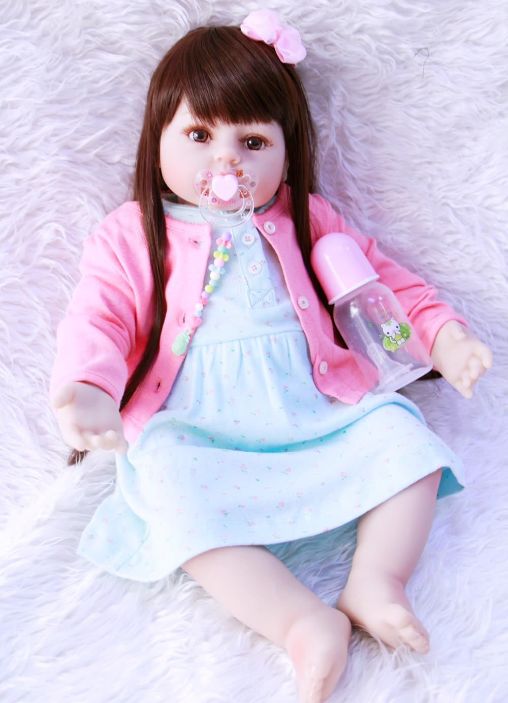 2358cm Soft Silicone babies Reborn Dolls straight long hair princess   collectible  Bebe Alive Dolls Kids Playmate brinquedos 2358cm Soft Silicone babies Reborn Dolls straight long hair princess   collectible  Bebe Alive Dolls Kids Playmate brinquedos