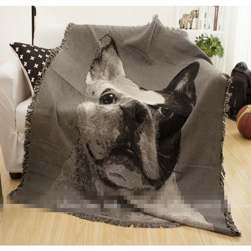 Cotton thread lovely black&white animal bull dog throw single size retro&nostalgic sofa leisure blanket bedspread free shipping