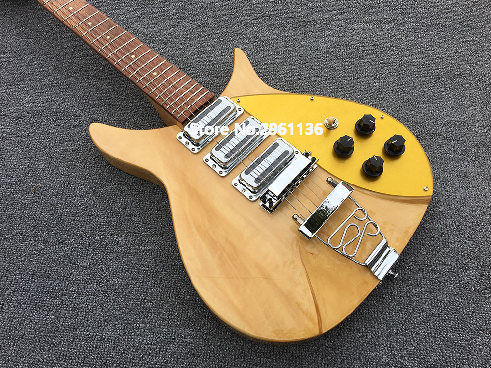 High quality rickenbacker electric guitar, original wood color,fixation Pull string board, Korean production of three pickup!