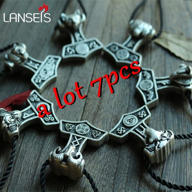 US $32 0 |7pcs wholesale norse symbol Thor Hammer pendant necklace viking  animals wolf \bear\raven\snake\fox\ram thor's Hammer-in Pendant Necklaces