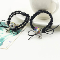 Iron Tower Crystal Bead Black Two layer Elastic Hair Bands Ponytail Holders Headwear Hair Accessories for Women