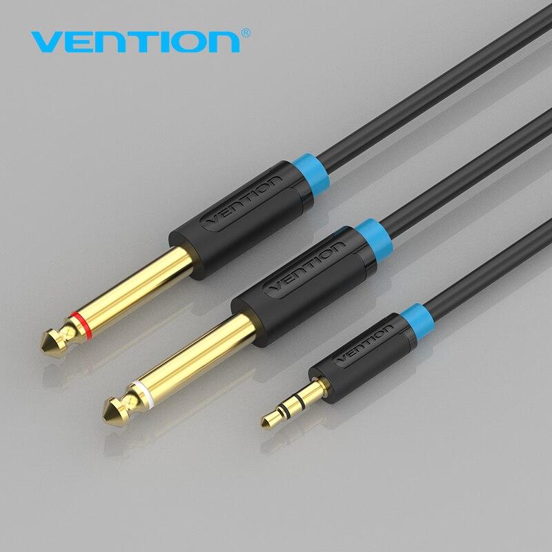 Convention Câble Audio Double 6.35mm Mâle 1/4 Mono Jack Stéréo 1/8 3.5mm Jack Aux Cordon 3.5mm à Double 6.5mm Adaptateur Jack