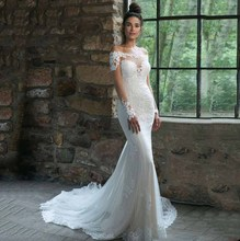 Off The Shoulder Long Sleeve Wedding Dress For Women Lace Mermaid Boat Back Court Train Floor Length Bridal Gown