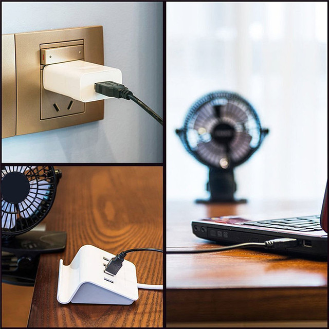 Portable 2 Gear Rocker Switch Mini Desk Fan Clip-on Quiet Table Fan USB Powered Cooling Flexible Computer Fan for PC Laptop 5