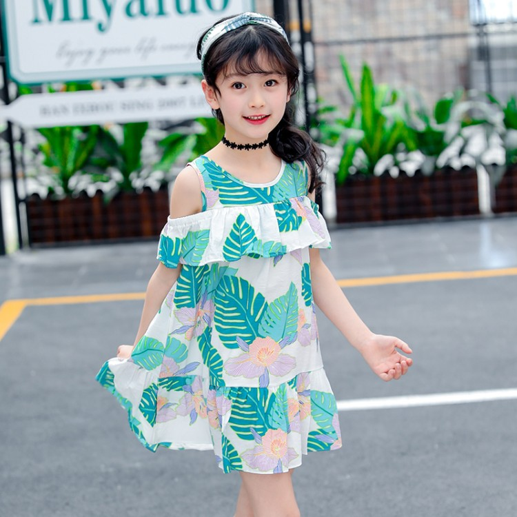 2018 new Summer New Arrival Children's Clothing Dress Loose Girl's Strapless Beach Dress 4-13 years For Holiday