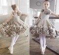 Criança cinza da menina de flor vestidos para casamentos reais vestido de aniversário da princesa para crianças 2016 das meninas vestidos de noite