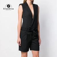 Summer Romper Women New Fashion Belted Elegant Office Overalls Casual V Neck Sleeveless Jumpsuit Black Playsuit
