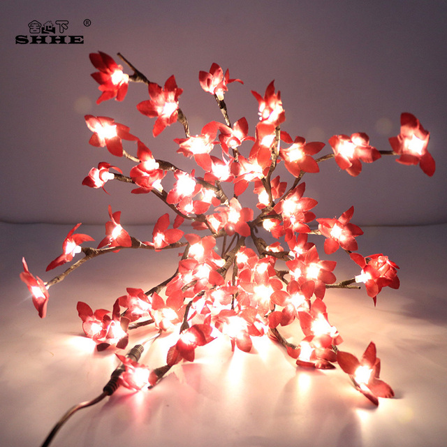 Winter Jasmine Artificial Flower Twig Branch Fl Lights 50cm Battery Blossom Decorative Tree Plants Led Branches