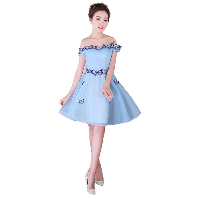 ruthshen Sexy Boat Neck Bridesmaid Dresses 2018 Flowers Appliques Organza Short Bridesmaids Dress Vestido Madrinha Knee Length