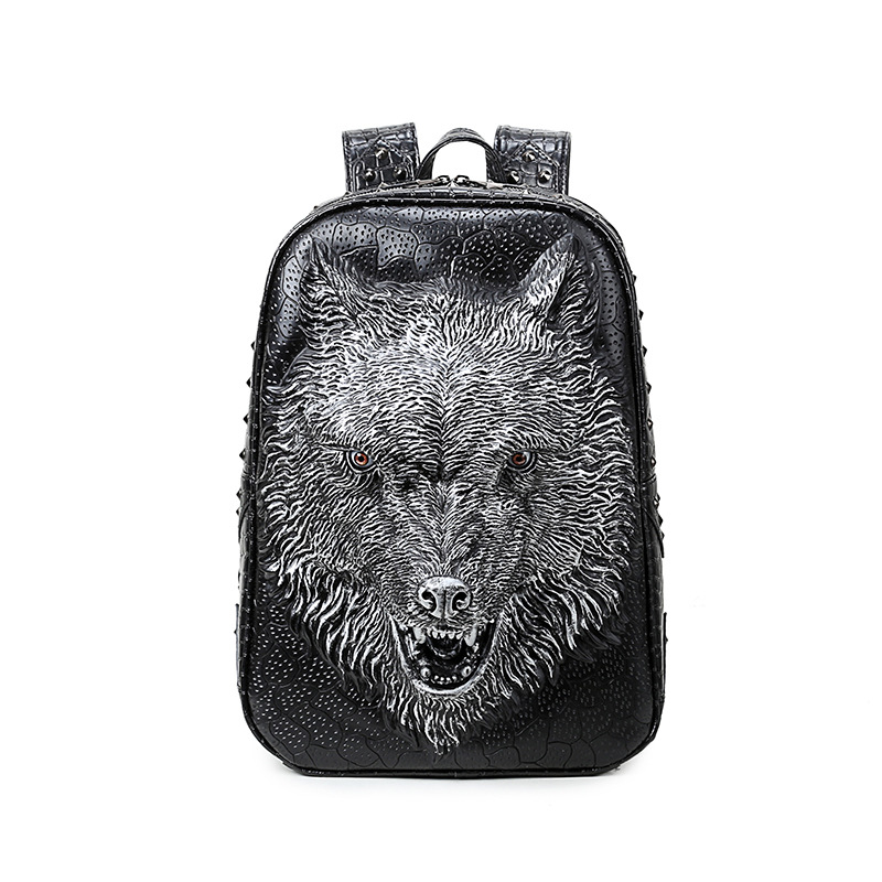 Men Women Casual Faux Leather Laptop Backpack 3D Wolf High Quality Travel School Backpacks Daypack Mochila Rucksack projector lamp with housing dt00911 for hitachi cp x450 cp xw410 ed x31 ed x33 hcp 6680x hcp 900x