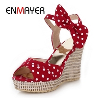 ENMAYER New fashion vintage lady Wave point butterfly knot wedges women summer sandals Size 34 39 ZYL245