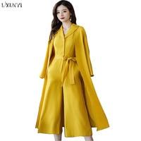 LXUNYI Women Pants Suits Sets Wide leg jumpsuit Ladies Elegant Fashion Loose Long Cardigan Two Pieces Set Spring 2018 Yellow