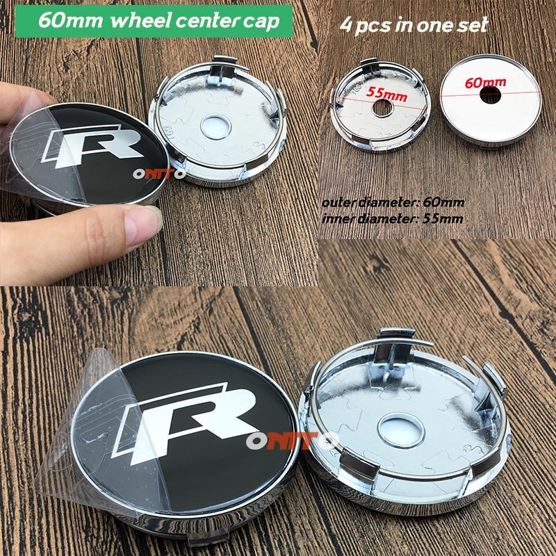 Good Quality CHROME 60mm 6CM 2.36inch Wheel hub Centre Cap Dust-proof R Line Sticker Sign Decoration 4pcs/set for vw cc Golf B6