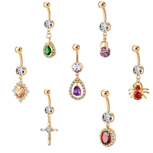 Colorful Crystal Zircon Cute Spider Pendant Sexy Women Belly Button Rings High Quality Surgical Steel Navel Piercing Jewelry