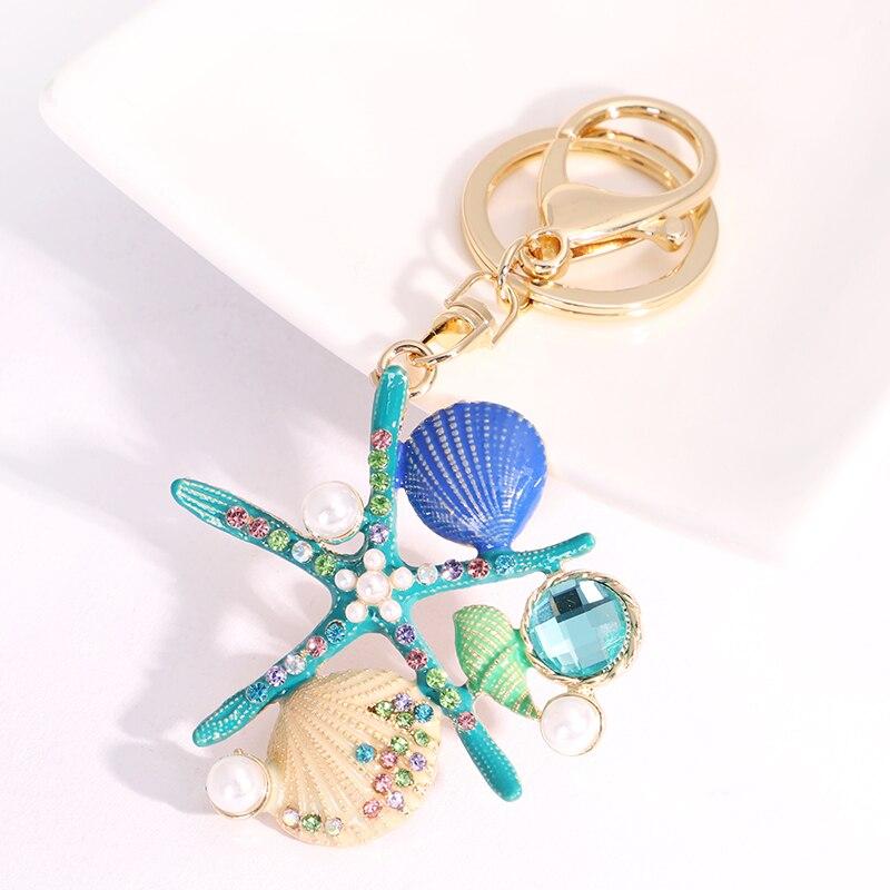 EASYA 2 Colors Sea World Crystal Starfish Keychain Fashion Simulated Pearl Shell Keyring Holders For Women Bag Car Key Chains