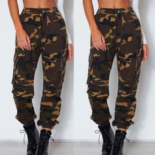 30a4f7c37d7b8 US $12.14 |Womens Lady Camo Cargo Trousers Casual Pants Military Army  Combat Camouflage Pants Jeans Women Clothing-in Pants & Capris from Women's  ...