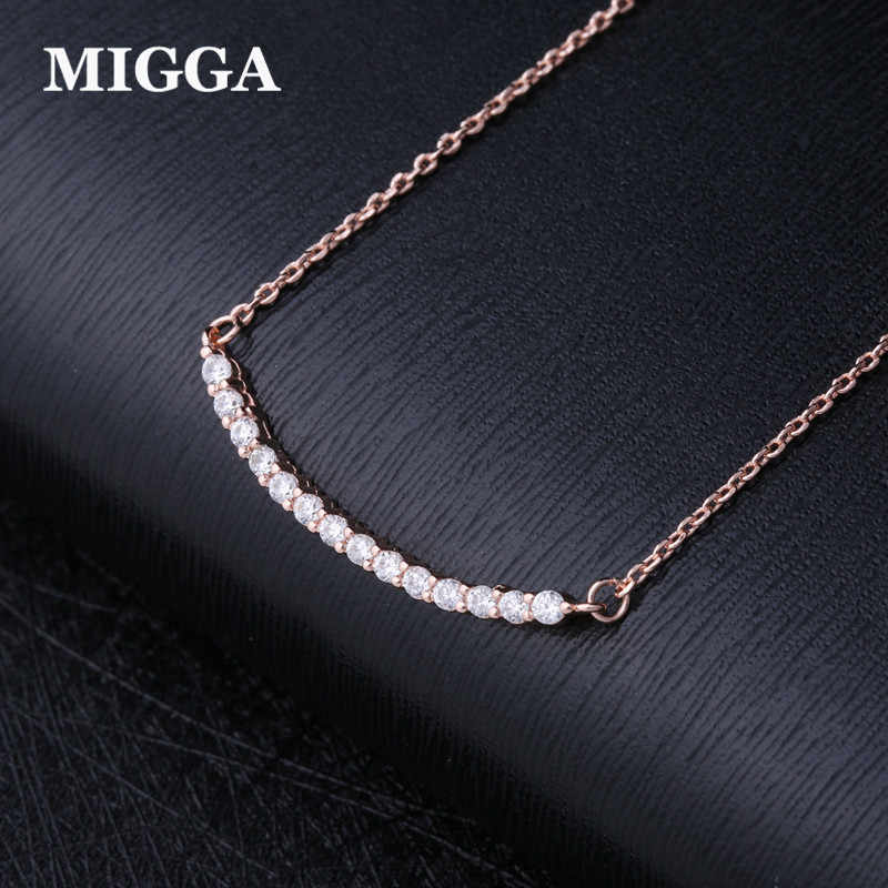 MIGGA Trendy Rose Gold Color CZ Crystals Cubic Zirconia Necklace Fashion Women Short Chain Jewelry