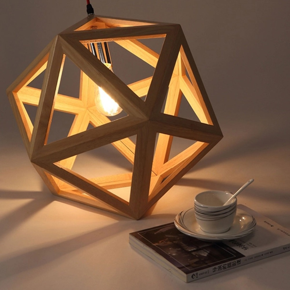 Brief Hand Craft Pendant Light Natural Wood Nordic Drop Lamp Hexahedron Shaped Hanging Fixture Lighting Loft Bar Cafe Lustres In Lights From