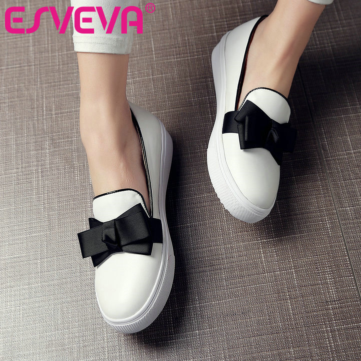 ФОТО ESVEVA 2017 Spring/Autumn Shoes Slip on Round Toe Women Shoes Mixed Color Shallow Med Heel  Pumps PU Miss Shoes Size 34-43 White