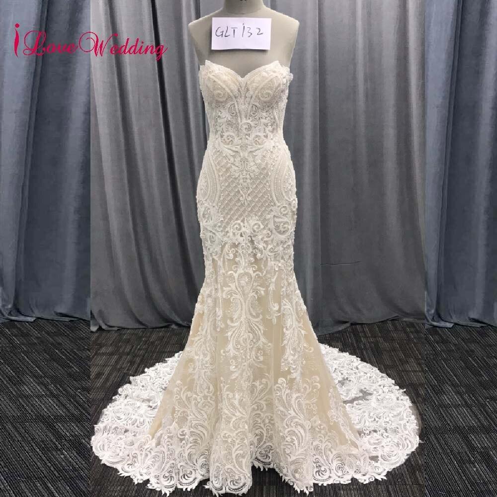 ILoveWedding 2019 Vestidos De Novia Strapless Lace Delicate Beaded Court Train Luxuy Trumpet Wedding Dresses Real Photo