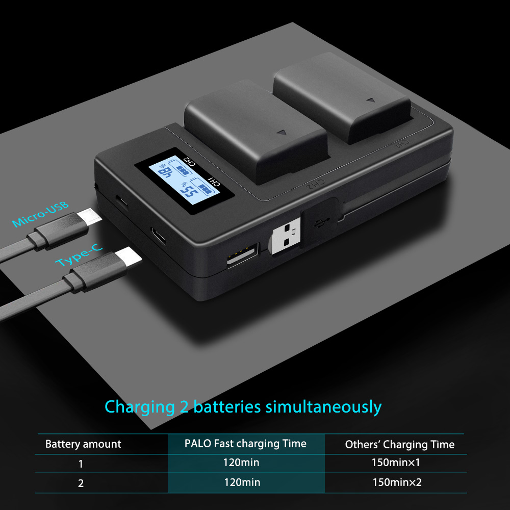 Image 4 - PALO NP FW50 camera battery charger npfw50 fw50 LCD USB Dual Charger for Sony A6000 5100 a3000 a35 A55 a7s II alpha 55 alpha 7 A-in Camera Charger from Consumer Electronics