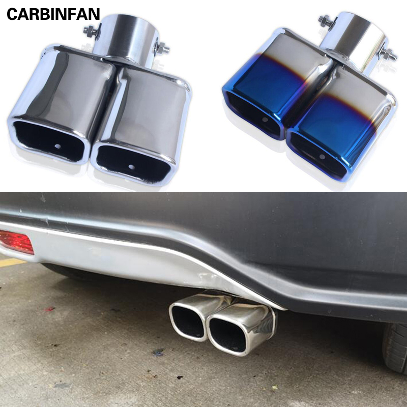 New 2Pcs stainless steel chrome tail muffler tailpipe exhaust pipe For Ford Kuga 2013 2014 2015 2016 2017 2018 2019