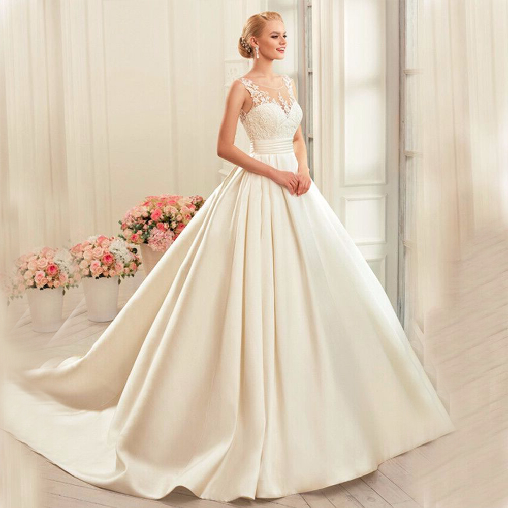 Cheap Satin A Line Wedding Dress 2019 Appliques Bridal Gowns Plus Size Sexy Backless Wedding Dresses