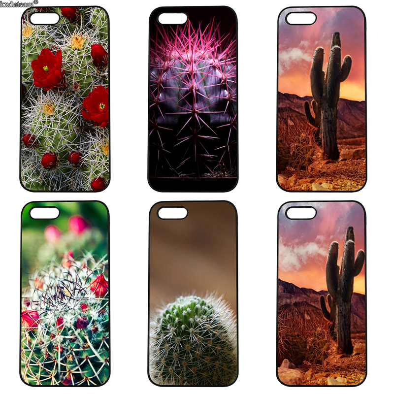 Green Cactus Flower Mobile Phone Case Hard PC Anti-knock Cover for iphone 8 7 6 6S Plus X 5S 5C 5 SE 4 4S iPod Touch 4 5 6 Shell