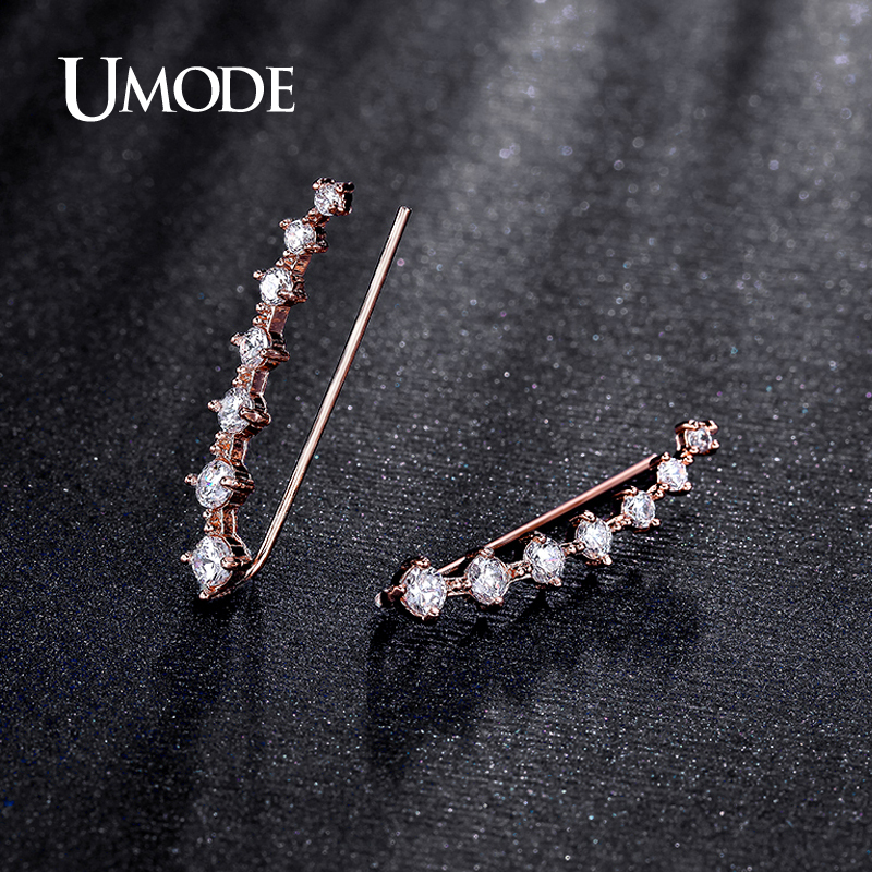 UMODE Hot Four Prong Setting Earring Pins CZ Crystal Rose Gold Color ...