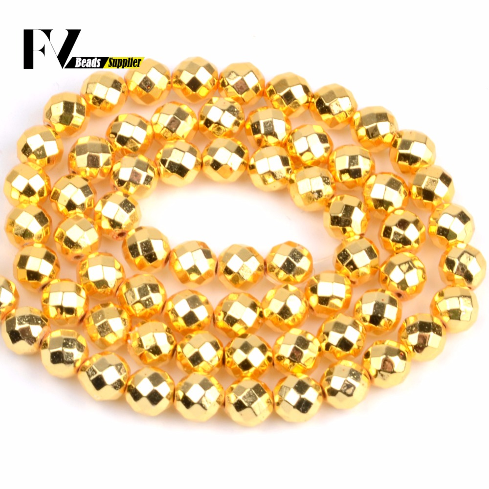Faceted Golds Plated Hematite Round Beads For Jewelry Making 4mm-10mm Natural Stone Beads Accessories diy Bracelets Needlework