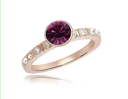 New Promotion Fine Zircon and Rhinestone Rose Gold Plated Rings Simple Design Gift for Mother