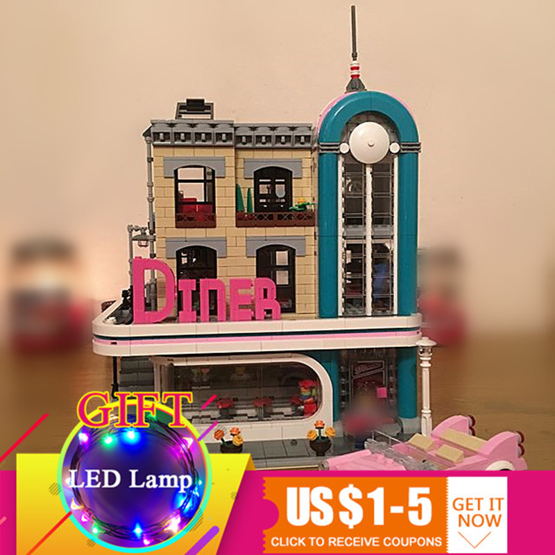 15037 2778Pcs Creative Street Scene The Downtown Diner set Building Block Compatible with 10260 Toys As New Year Gifts lepin real picture kids evening gown luxury flower girl dresses for wedding long trailing princess dress ball gown beading dress