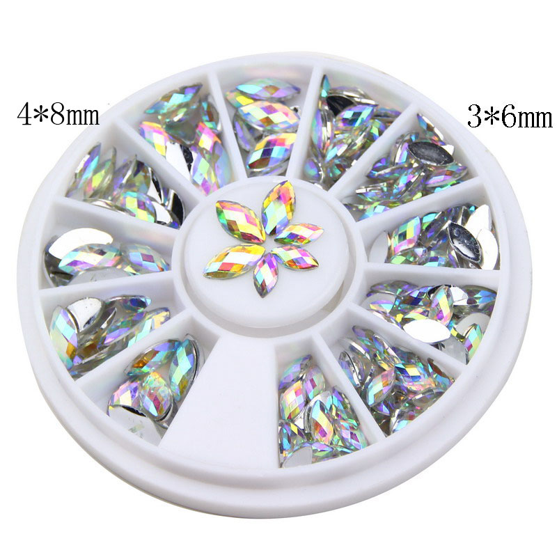 EWTU014012 New Fashion 3D AB White Color Crystal Horse Eyes Gem Glitters Rhinestones DIY Nail Art Tips Decoration Manicure Wheel