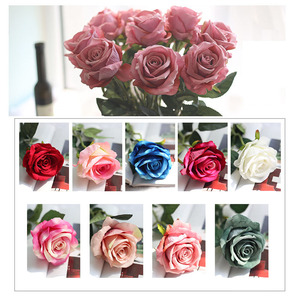 Image 4 - 10pcs/lot Artificial Rose Flowers Bouquet Real touch Penoy 1 Bunch Silk flowers Arrange Table flores for Home Wedding Decoration