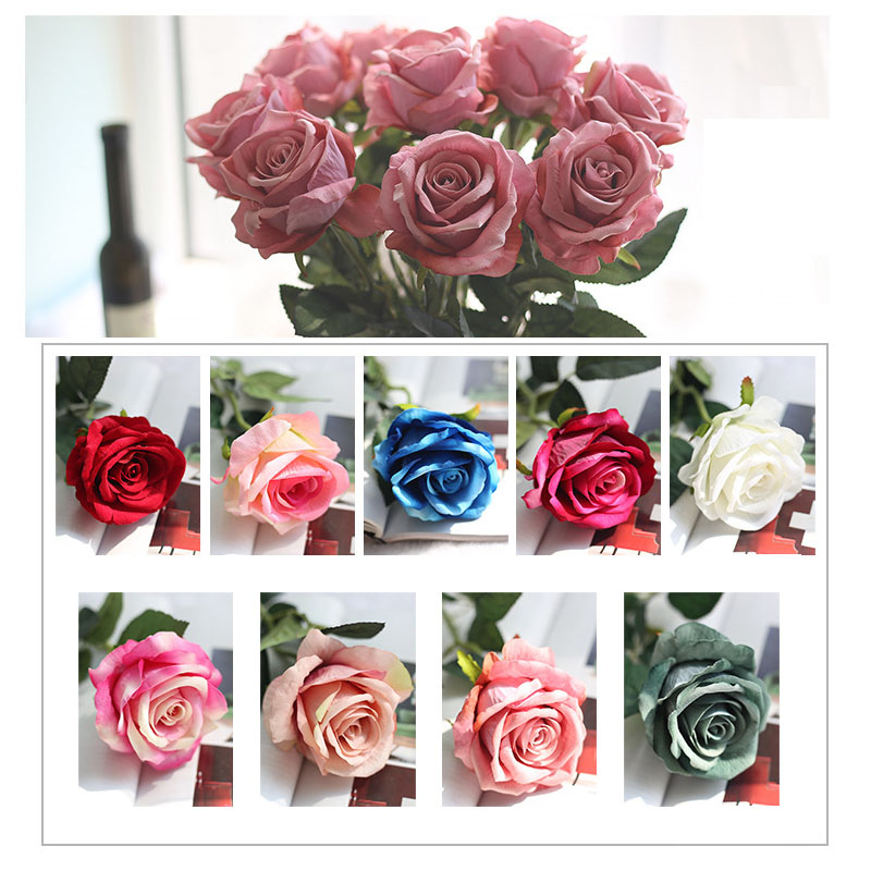 Image 3 - rose silk flowers wedding flowers real touch roses artificial the flowers flores Bouquet Fake vase Flower Home Party Decoration-in Artificial & Dried Flowers from Home & Garden