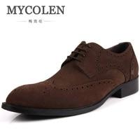 Mycolen Для мужчин; модельные туфли с круглым носком осень Пояса из натуральной кожи черные туфли на официальное событие броги свадьба обувь му