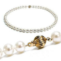8 8.5mm White freshwater pearl necklace 18inch 2piece/lot Women fashion jewelry making design