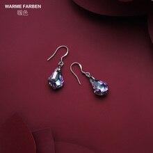 купить Warme Farben 925 Sterling Silver Drop Earrings for Women Crystal from swarovsky Jewelry dangle zircon earring Party Lady Gifts дешево