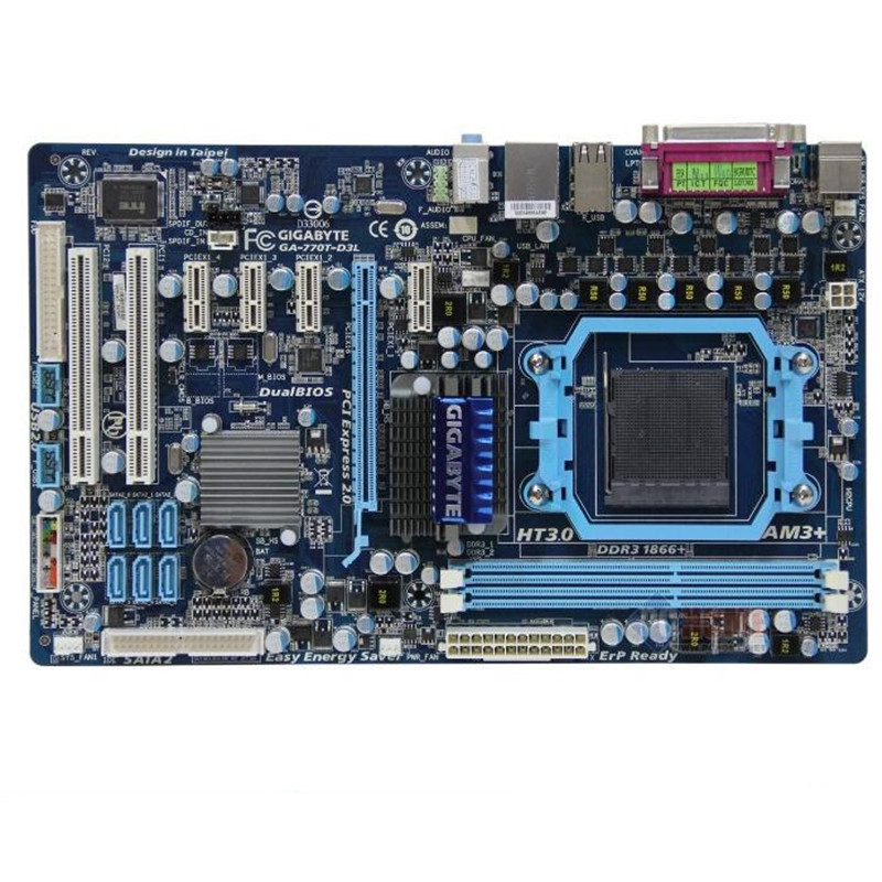 Used Original 770 AM3+  Motherboard For Gigabyte GA-770T-D3L 770T-D3L DDR3 1333 1066  Socket AM3 Gigabit Ethernet