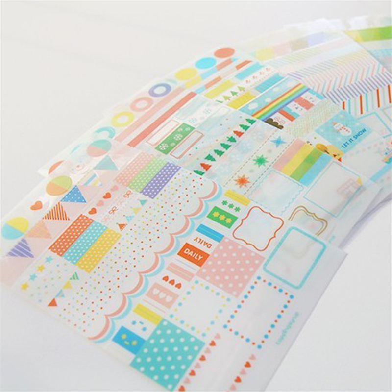 6 sheets/lot DIY Cute Kawaii PVC Sticker Transparent Rainbow Stickers For Home Decoration Scrapbooking Diary Free Shipping 3466 auto accessories chameleon sticker 30m 1 52m functional car pvc red copper color stickers home decorative films stickers