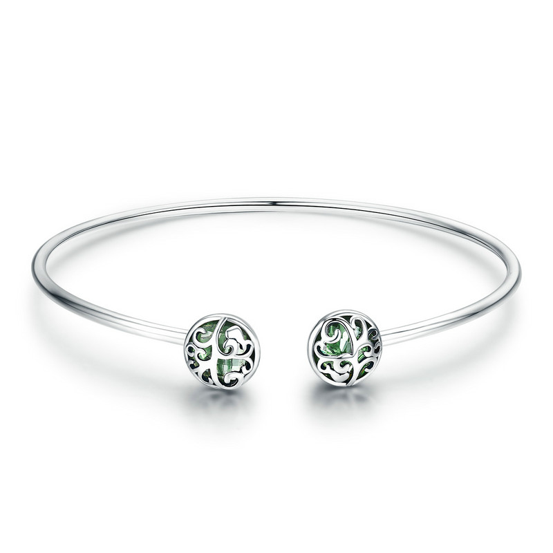 925 Sterling Silver Tree of Life Green Crystal CZ Women Open Cuff Bangle & Bracelet Luxury Silver Jewelry SCB057 BAMOER