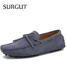 SURGUT Brand New Fashion Sommer Frühling Männer Fahren Schuhe Slipper Echte Leder Bootsschuhe Atmungsaktiv Männlichen Beiläufige Ebenemüßiggänger