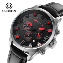 2018 New Watch Men Brand Ochstin Sport Watches Mens Leather Quartz Waterproof Chronograph Hour Clock Military Army Fashion