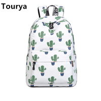 Tourya Fashion Waterproof Women Backpack Cute Cactus Pattern Printing School Bag Teenagers Girls Large Capacity Knapsack Mochila