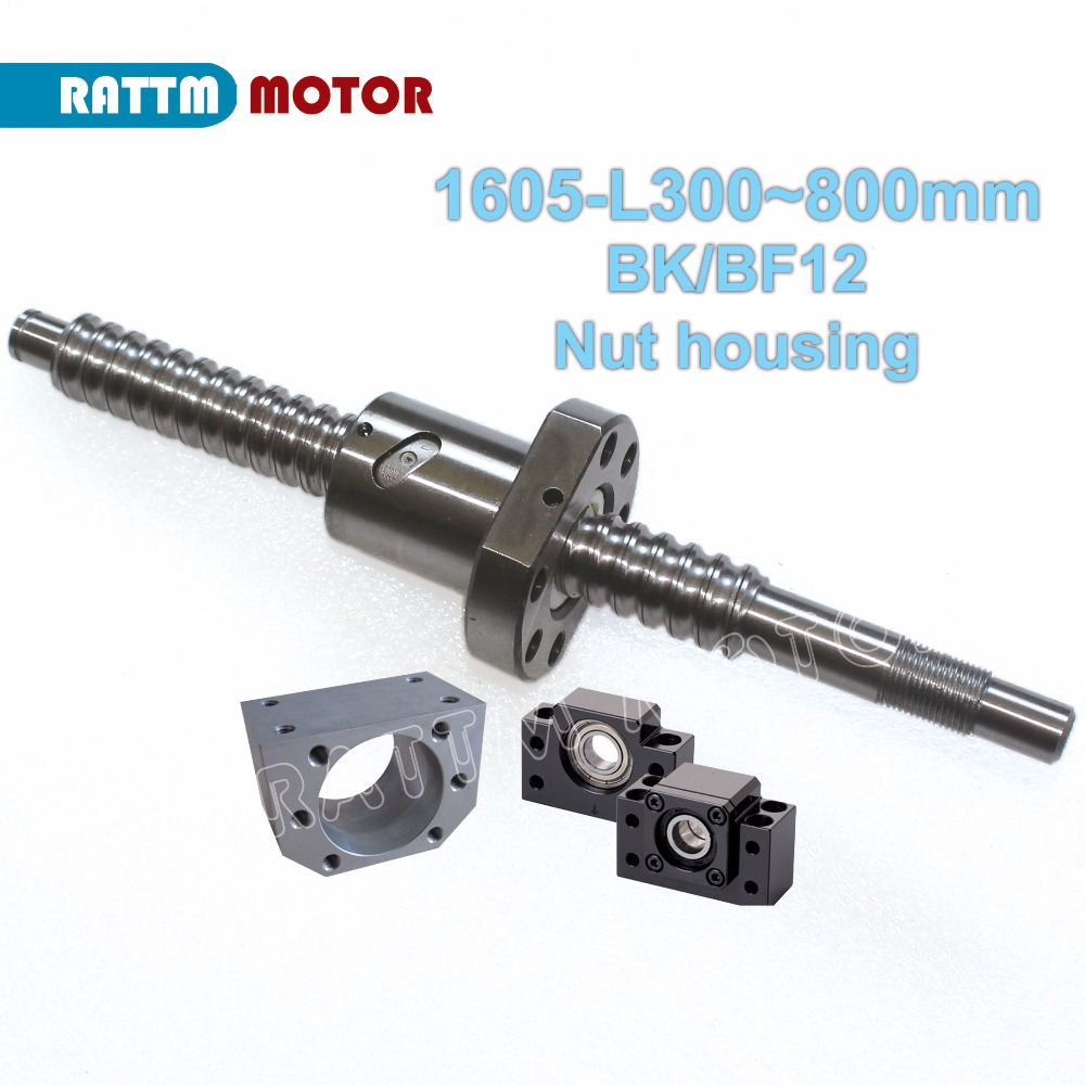 DE/EU Delivery! SFU1605 Ball screw-L300/500/600/800/1050mm end machined&BK/BF12 &ball screw nut& nut housing for router machine