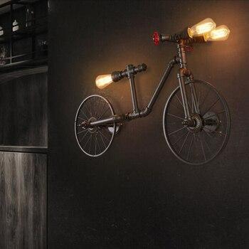 Vintage fer vélo salon appliques Style industriel E27 Bar café applique murale lampe créative décoration murale livraison gratuite
