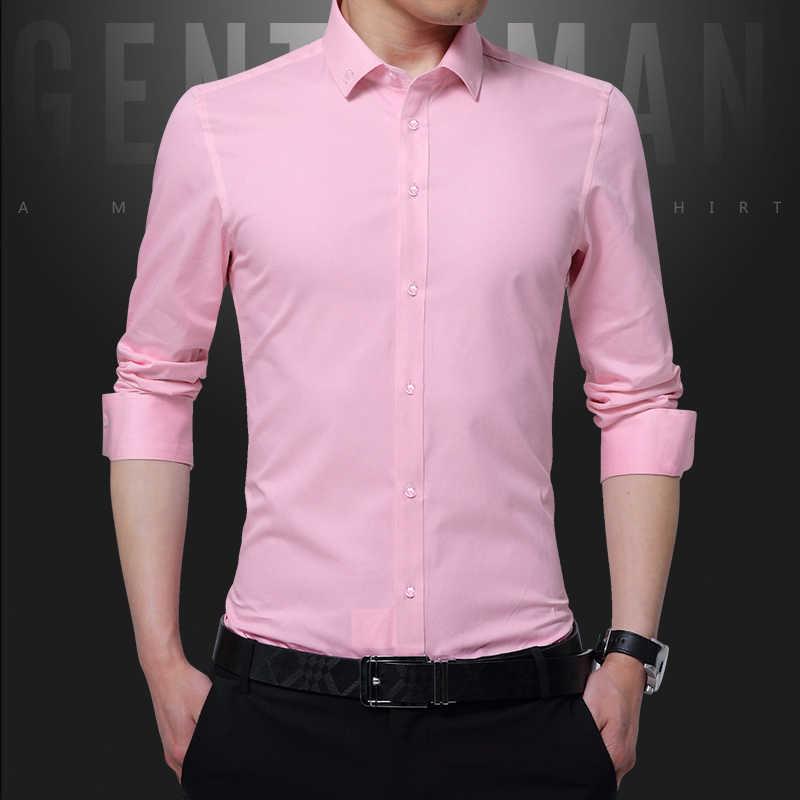 2117f1a0bd ... New Brand Men Shirts Dress Chemise Cotton Long Sleeve Men s Social  Shirt Slim Fit Solid Color ...