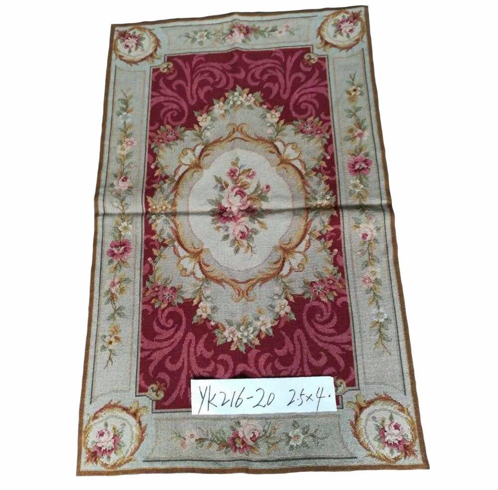 Livraison gratuite 2.5 'x4' laine fait à la main tapis de laine point aiguille 100% croix cousu à la main nouvelle-zélande tapis de laine