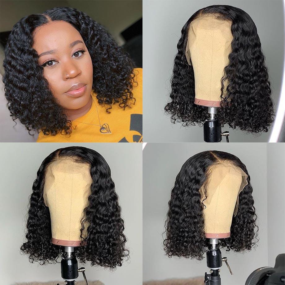 Парики из натуральных волос на кружевной основе, перуанские волосы с глубокой волной, короткие волосы, парик с предварительно выщипанными волосами, 150% плотность волос, парики - 3
