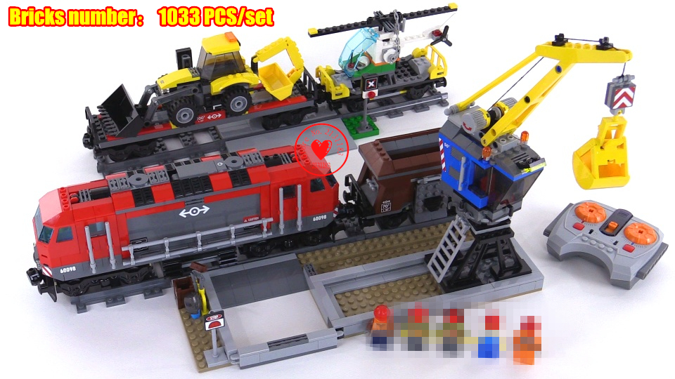 New City Engineering Remote Control fit legoings technic city figures RC Train model Building Block 60098 diy toys gift kid boys city creators radio remote control heavy haul train building block worker figures engineering bricks 60098 rc assemblage toys